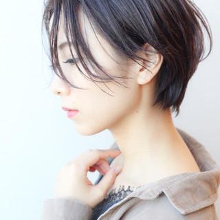 コンサバ ショート デート 黒髪 ヘアスタイルや髪型の写真・画像