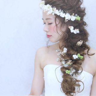 結婚式 花嫁 ハーフアップ ロング ヘアスタイルや髪型の写真・画像