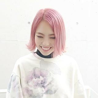 ショートヘア ミニボブ ボブ ピンクアッシュ ヘアスタイルや髪型の写真・画像