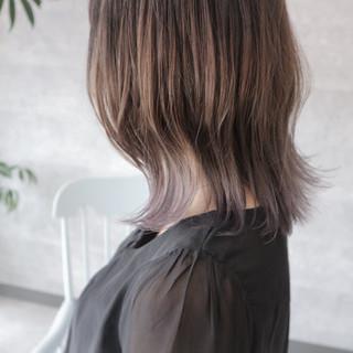 大人女子 グラデーションカラー ボブ ミディアム ヘアスタイルや髪型の写真・画像 ヘアスタイルや髪型の写真・画像