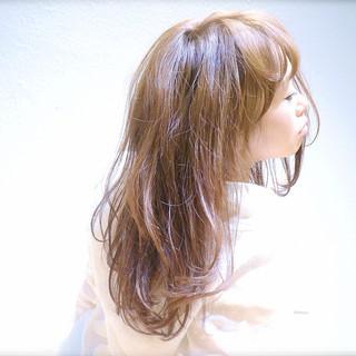 簡単ヘアアレンジ ストレート セミロング 丸顔 ヘアスタイルや髪型の写真・画像