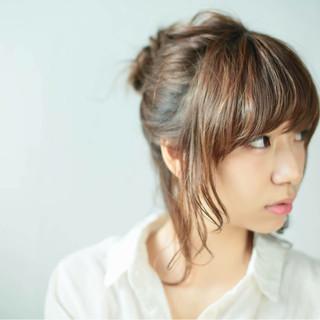 ショート ヘアアレンジ ブラウン ハーフアップ ヘアスタイルや髪型の写真・画像