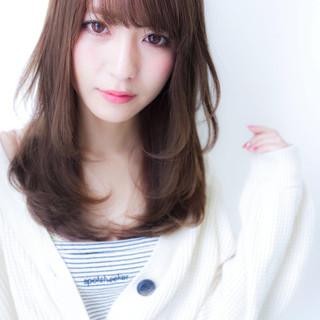 ヘアカラー 前髪 トリートメント セミロング ヘアスタイルや髪型の写真・画像
