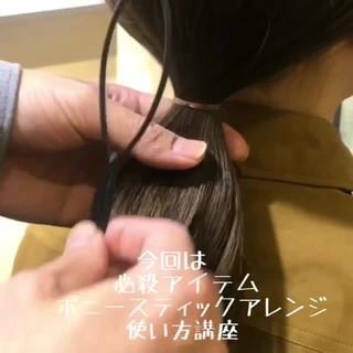 セミロング ヘアアレンジ 簡単ヘアアレンジ 黒髪 ヘアスタイルや髪型の写真・画像