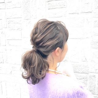 ショート セミロング 簡単ヘアアレンジ ゆるふわ ヘアスタイルや髪型の写真・画像 ヘアスタイルや髪型の写真・画像