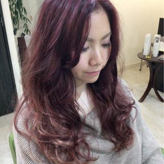 グラデーションカラー ロング ピンク ブリーチ ヘアスタイルや髪型の写真・画像
