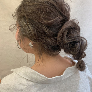 セミロング ヘアアレンジ スポーツ フェミニン ヘアスタイルや髪型の写真・画像