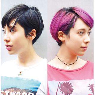 ショート グラデーションカラー ストリート マッシュ ヘアスタイルや髪型の写真・画像