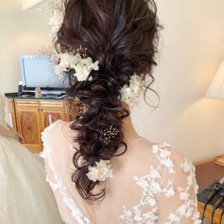 ヘアアレンジ フェミニン 結婚式ヘアアレンジ ロング ヘアスタイルや髪型の写真・画像