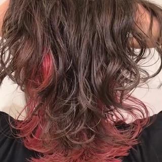 ミディアム インナーカラー 謝恩会 ロブ ヘアスタイルや髪型の写真・画像