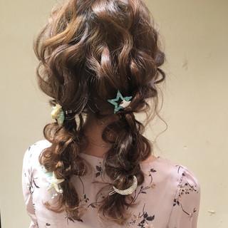 セミロング 編み込み 結婚式 ヘアアレンジ ヘアスタイルや髪型の写真・画像