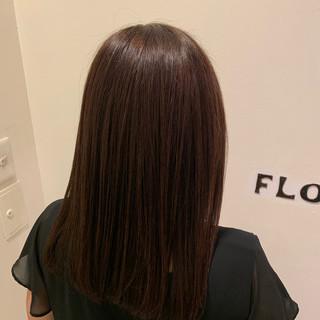 フェミニン セミロング 縮毛矯正 ヘアスタイルや髪型の写真・画像