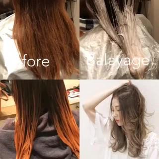 ハイライト 外国人風 バレイヤージュ 外国人風カラー ヘアスタイルや髪型の写真・画像
