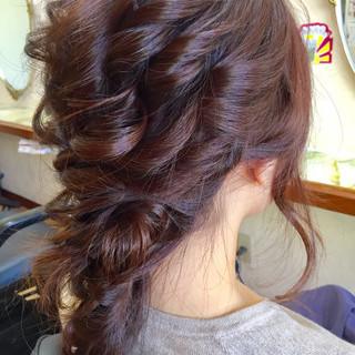 ヘアアレンジ 結婚式 フェミニン 編み込み ヘアスタイルや髪型の写真・画像