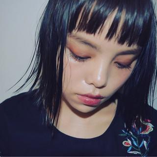 前髪あり 女子会 ハイライト 黒髪 ヘアスタイルや髪型の写真・画像