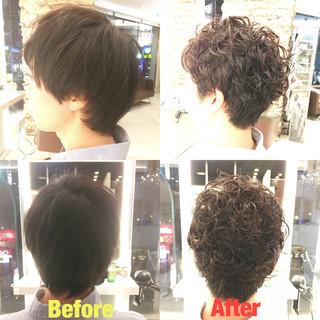 ショート ストリート ボーイッシュ パーマ ヘアスタイルや髪型の写真・画像
