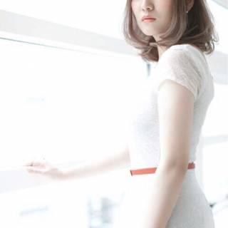 ミディアム ガーリー 秋 ストリート ヘアスタイルや髪型の写真・画像
