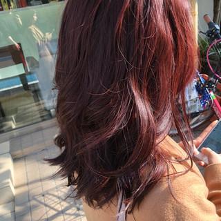 セミロング ヘアカラー ヘアアレンジ ピンクブラウン ヘアスタイルや髪型の写真・画像