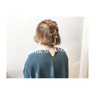 デート ボブ ゆるふわ ウェーブ ヘアスタイルや髪型の写真・画像