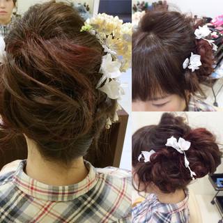 フェミニン ヘアアレンジ アップスタイル ミディアム ヘアスタイルや髪型の写真・画像 ヘアスタイルや髪型の写真・画像