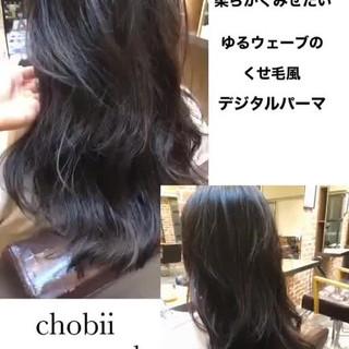 小顔ヘア ナチュラル デジタルパーマ ロング ヘアスタイルや髪型の写真・画像