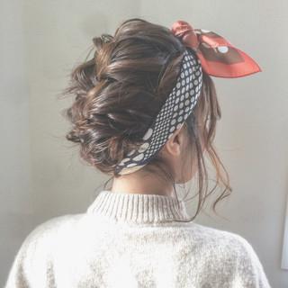 フェミニン ゆるふわ ボブ ヘアアレンジ ヘアスタイルや髪型の写真・画像