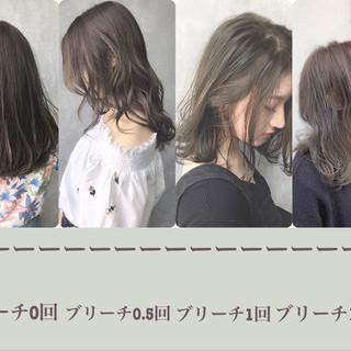 アッシュグレージュ ミルクティーベージュ ピンクベージュ セミロング ヘアスタイルや髪型の写真・画像