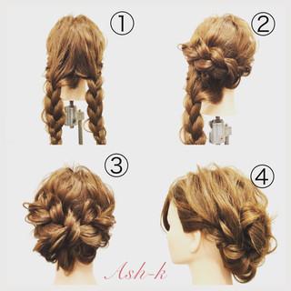 三つ編み 結婚式 ヘアアレンジ 簡単ヘアアレンジ ヘアスタイルや髪型の写真・画像