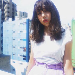 フェミニン ミディアム 黒髪 色気 ヘアスタイルや髪型の写真・画像