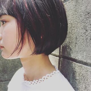 インナーカラー ストリート ショートボブ ショート ヘアスタイルや髪型の写真・画像