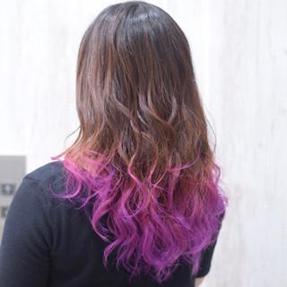 パープル ガーリー ピンク 裾カラー ヘアスタイルや髪型の写真・画像