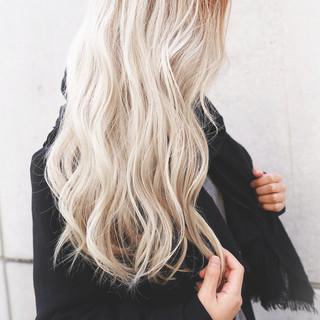 ロング グレージュ 外国人風カラー バレイヤージュ ヘアスタイルや髪型の写真・画像