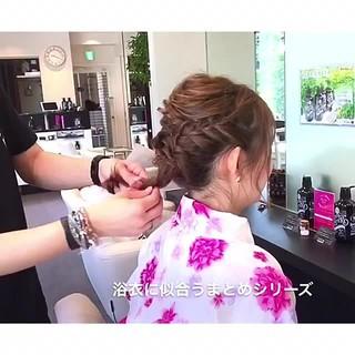 花火大会 デート 夏 フェミニン ヘアスタイルや髪型の写真・画像