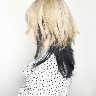 モード ウルフカット マッシュウルフ セミロング ヘアスタイルや髪型の写真・画像