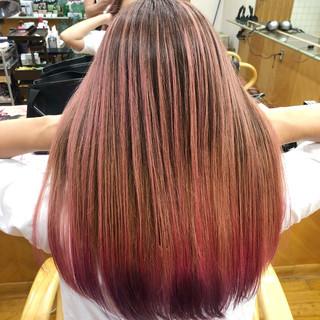 バレイヤージュ ブリーチ フェミニン ロング ヘアスタイルや髪型の写真・画像