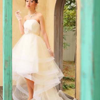 セミロング ブライダル フェミニン ヘアアレンジ ヘアスタイルや髪型の写真・画像