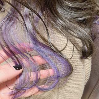 ストリート 大人かわいい ミディアム ダブルカラー ヘアスタイルや髪型の写真・画像
