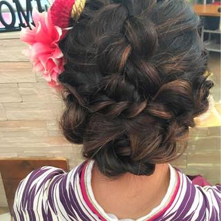 ロング ヘアアレンジ 着物 編み込み ヘアスタイルや髪型の写真・画像