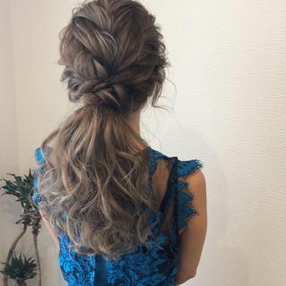 ポニーテール ロング ローポニーテール フェミニン ヘアスタイルや髪型の写真・画像