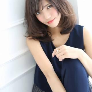 フェミニン ナチュラル 大人かわいい ミディアム ヘアスタイルや髪型の写真・画像