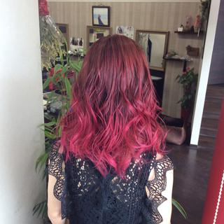 グラデーションカラー ガーリー セミロング ラベンダーピンク ヘアスタイルや髪型の写真・画像