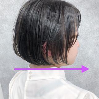 ミニボブ 黒髪 ストレート ナチュラル ヘアスタイルや髪型の写真・画像