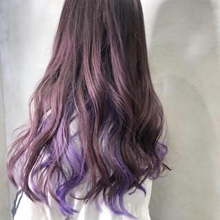 フェミニン セミロング ラベンダーピンク ヘアスタイルや髪型の写真・画像