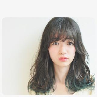 ウェーブ パーマ アンニュイ セミロング ヘアスタイルや髪型の写真・画像