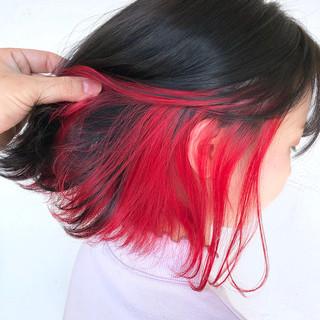 インナーカラー ボブ ガーリー 簡単ヘアアレンジ ヘアスタイルや髪型の写真・画像 ヘアスタイルや髪型の写真・画像