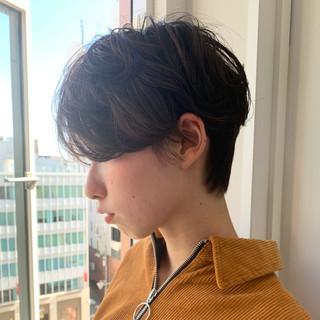 ワンカールパーマ ショートマッシュ ショートボブ ショート ヘアスタイルや髪型の写真・画像