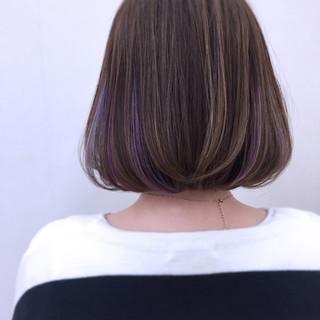 ボブ アッシュ ニュアンス インナーカラー ヘアスタイルや髪型の写真・画像