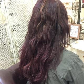 ラベンダーピンク ハイライト ロング メッシュ ヘアスタイルや髪型の写真・画像