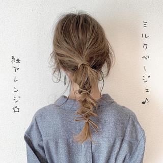 ガーリー 簡単ヘアアレンジ ロング ミルクティーグレージュ ヘアスタイルや髪型の写真・画像