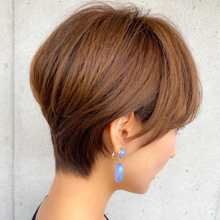透明感カラー ミニボブ ショート ナチュラル可愛い ヘアスタイルや髪型の写真・画像